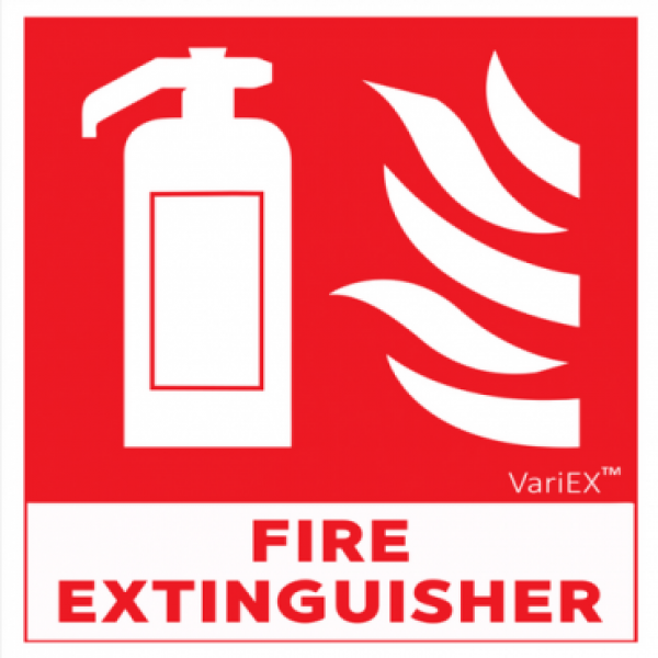 Auto-Luminescent (Glow in Dark) Fire Extinguisher Signage Board (8x8 Inches)