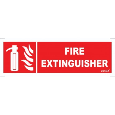 Photo-Luminescent (Glow in Dark) Fire Extinguisher Signage Board (12x4 Inches)