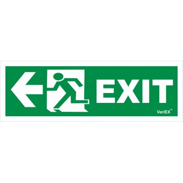 Photo-Luminescent (Glow in Dark) Fire Exit Signage Board - Left Arrow(12x4 Inches)