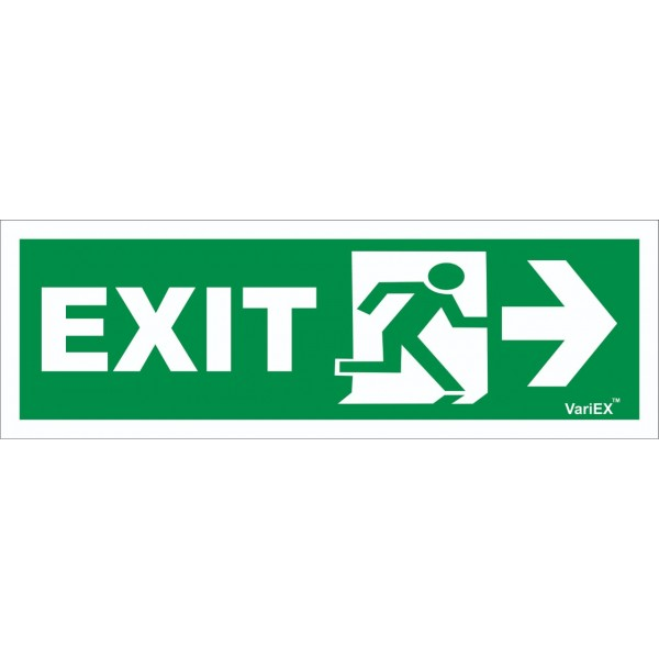 Photo-Luminescent (Glow in Dark) Fire Exit Signage Board - Right Arrow(12x4 Inches)